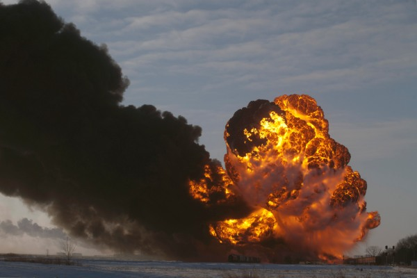 An oil train explosion