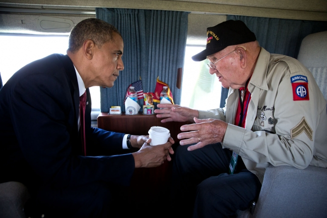 President Barack Obama and WWII veteran Kenneth Merritt