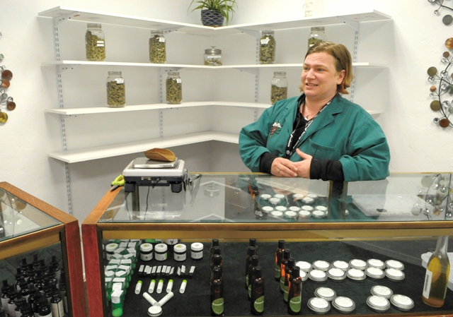 Going Green Compassion Center Sarah Whiteley at a medical marijuana dispensary