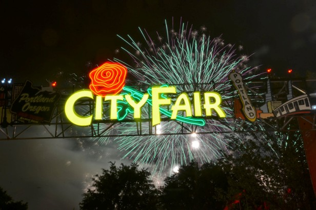 City Fair sign in night sky