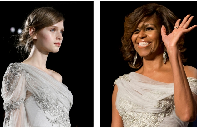 Michelle Obama and model in same dress