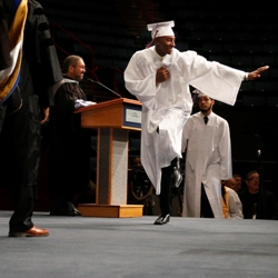 Graduate leaps in joy