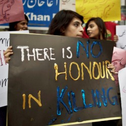 "woman protests ""honor"" killings"