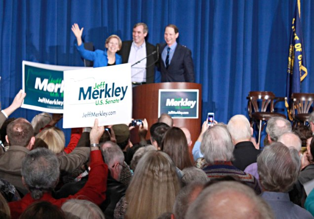 Political rally for Merkley