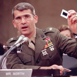 Oliver North testifies to Contra Committee during Iran Contra scandal