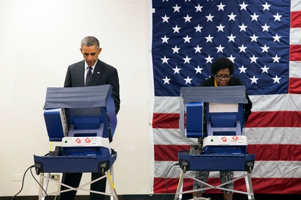 President Obama votes in 2014 election