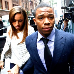 Ray Rice and wife outside court for his appeal hearing