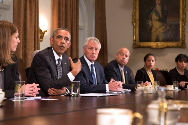 President Obama and his advisors talk to press about Ebola precautions