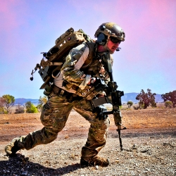 Air Force pararescueman conducts tactical field training