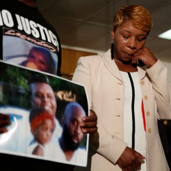 Michael Brown's mother at his funeral