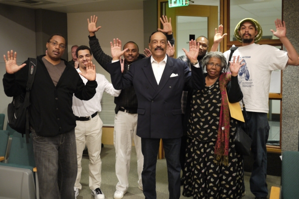 Eddie Rye and other protesters attended a community forum to protest the chokehold