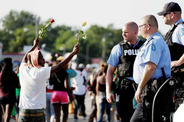 Police and protesters in Ferguson, Mo.