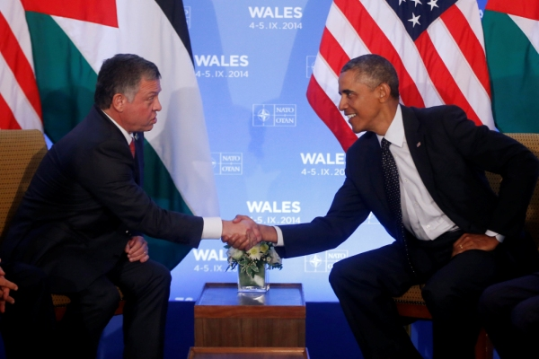 President Obama and King Abdullah of Jordan shake hands at the NATO conference in Wales Sept. 4