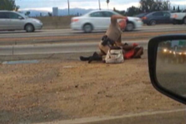 Video grab of California Highway Patrol Officer punching Marlene Pinnock