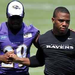 Ray Rice consoled by another Baltimore Ravens player