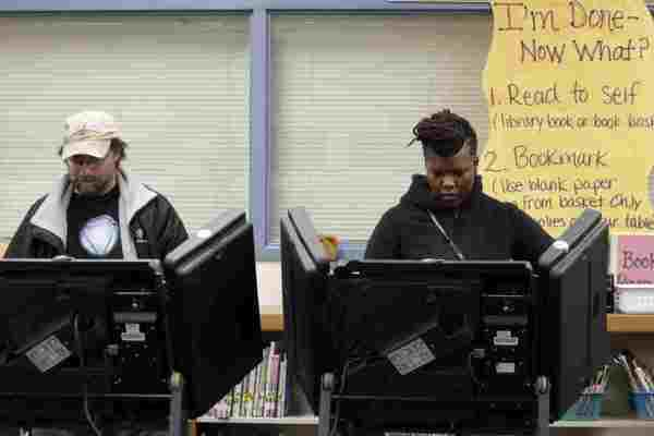 Two Ferguson, Missouri residents cast their votes