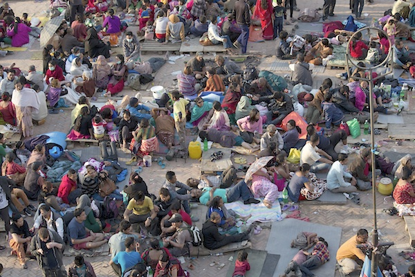 People seeking safety in open air after Kathmandu earthquake
