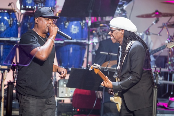 Chuck D, left, and Nile Rodgers perform on stage during the 2015 BMI R&B/Hip-Hop Awards at the Saban Theatre on Friday, Aug. 28, 2015 in Beverly Hills, Calif. (Photo by Paul A. Hebert/Invision/AP)