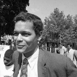 Julian Bond, then a state representative from Georgia, on the streets of the Bedford-Stuyvesant section of Brooklyn on September 15,1968. Credit AP Photo