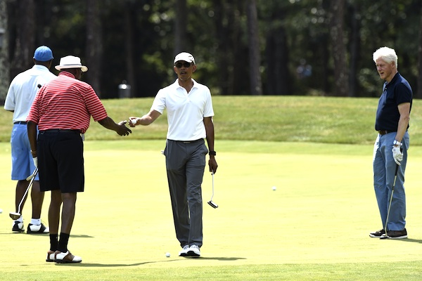 President Obama plays golf with Bill Clinton and Vernon Jordan