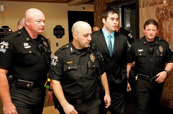 Daniel Holtzclaw being escorted to courtroom in Oklahoma City