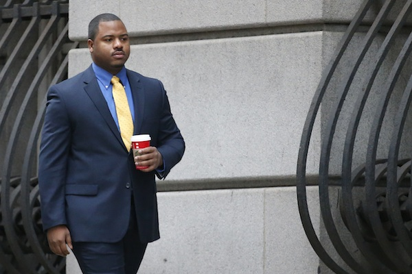 William Porter, one of six Baltimore city police officers charged in connection to the death of Freddie Gray, arrives at a courthouse for jury selection in his trial in Baltimore. The city of Baltimore was bracing for a verdict as closing arguments were planned Monday from defense lawyers for Porter. (Rob Carr/Pool Photo via AP, File)