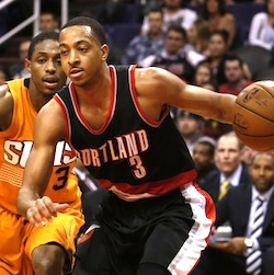 Portland Trail Blazers guard C.J. McCollum (3) in the first quarter during an NBA basketball game against the Phoenix Suns, Friday, Dec. 11, 2015, in Phoenix. (AP Photo/Rick Scuteri)
