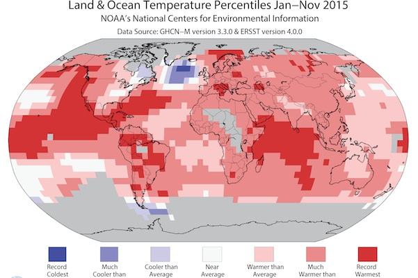 This image made available by the National Oceanic and Atmospheric Administration on Thursday, Dec. 17, 2015 shows warmer- or cooler-than-normal temperatures around the world for January through November 2015. If governments are serious about the global warming targets they adopted in Paris, scientists say they have two options: eliminating fossil fuels immediately or finding ways to undo their damage to the climate system in the future. The first is politically impossible _ the world is still hooked on using oil, coal and natural gas _ which leaves the option of a major cleanup of the atmosphere later this century. (NOAA via AP)
