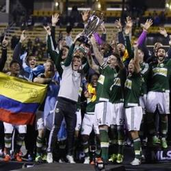 Portland Timbers celebrate after winning the MLS Cup in Columbus, Ohio