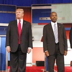 Republican presidential candidates Jeb Bush, Marco Rubio, Donald Trump, Ben Carson, Ted Cruz, and Carly Fiorina take the stage before the Republican presidential debate at the Milwaukee Theatre, Tuesday, Nov. 10, 2015, in Milwaukee. John Kasich and Rand Paul were also on stage for the debate. (AP Photo/Jeffrey Phelps)