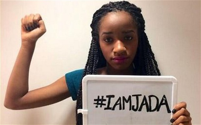 Houston, Texas teen Jada with #IAmJada sign