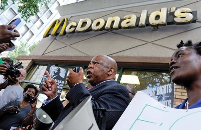 U.S. Rep. John Lewis at McDonald's demonstration