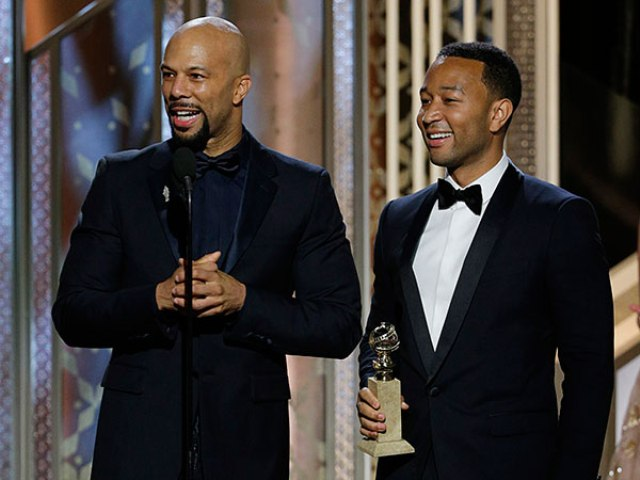 Common and John Legend accept award at the 2015 Golden Globes