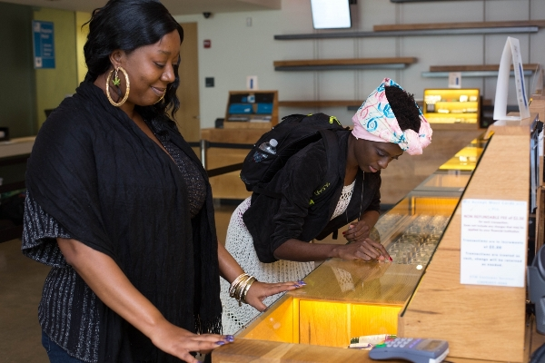 African-American women shopping at a dispensary