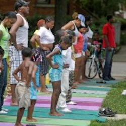 Tameka Lawson leads yoga class in Chicago's Englewood neighborhood