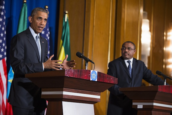President Barack Obama speaks during a joint news conference with Ethiopian Prime Minister Hailemariam Desalegn