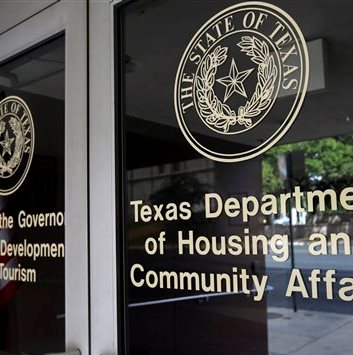 entrance to Texas Department of Housing and Community Affairs in Austin, Texas
