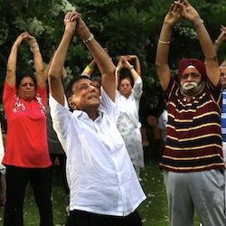 Indians in Mumbai practising yoga