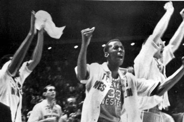 Texas Western celebrates their victory over all White Kentucky Wildcats in a historic win in 1966