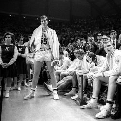 All White Kentucky Wildcats look on from the sidelines in the 1966 NCAA championships