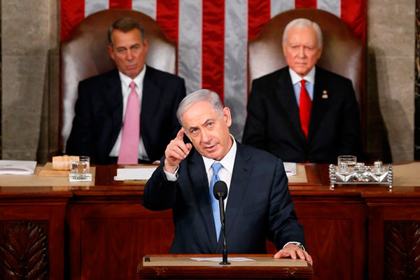 Israeli Prime Minister Benjamin Netanyahu before a joint meeting of Congress on Capitol Hill in Washington