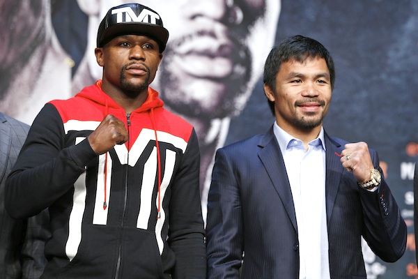 Boxers Floyd Mayweather Jr., left, and Manny Pacquiao