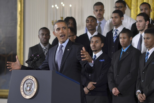 President Barack Obama speaks about the My Brother's Keeper Initiative in the East Room of the White House in 2014. In May 2015, President Obama helped business leaders and community stakeholders launch My Brother's Keeper Alliance