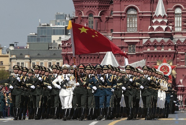 Chinese soldiers march in Russia's VE Day parade