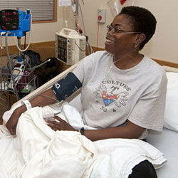 sickle cell anemia patient in hospital room