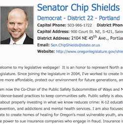 Chip Shields Senate web page