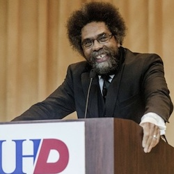 Cornel West addressed topics ranging from the Black Lives Matter movement to peace in the Middle East during a speech at the University of Houston-Downtown in Houston, Texas.( John Everett/Houston Defender)