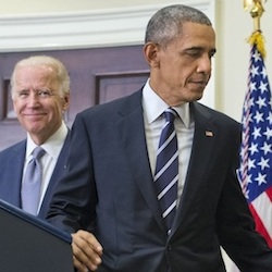 President Barack Obama walks away from the podium, accompanied by Vice President Joe Biden and Secretary of State John Kerry after making a statement on the Keystone Pipeline, Friday, Nov. 6, 2015, in the Roosevelt Room of the White House in Washington. With the The Obama administration has rejected Canadian energy giant TransCanada's application to build the Keystone XL pipeline. (AP Photo/Pablo Martinez Monsivais)