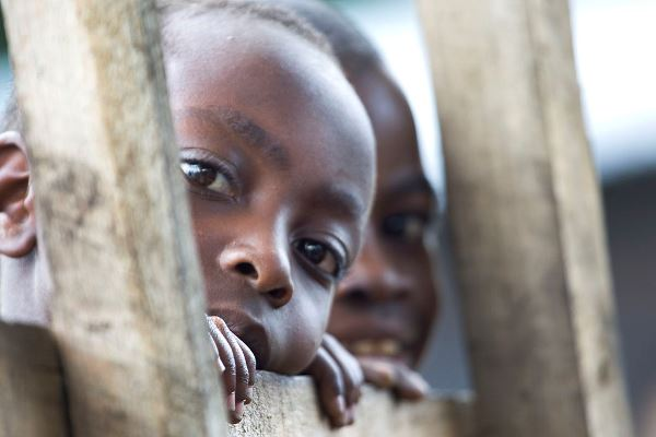 Congolese child looks at camera