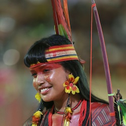 A Brazilian woman from the Gaviao athnic group takes part in the parade of indigenous beauty at the World Indigenous Games, in Palmas, Brazil.